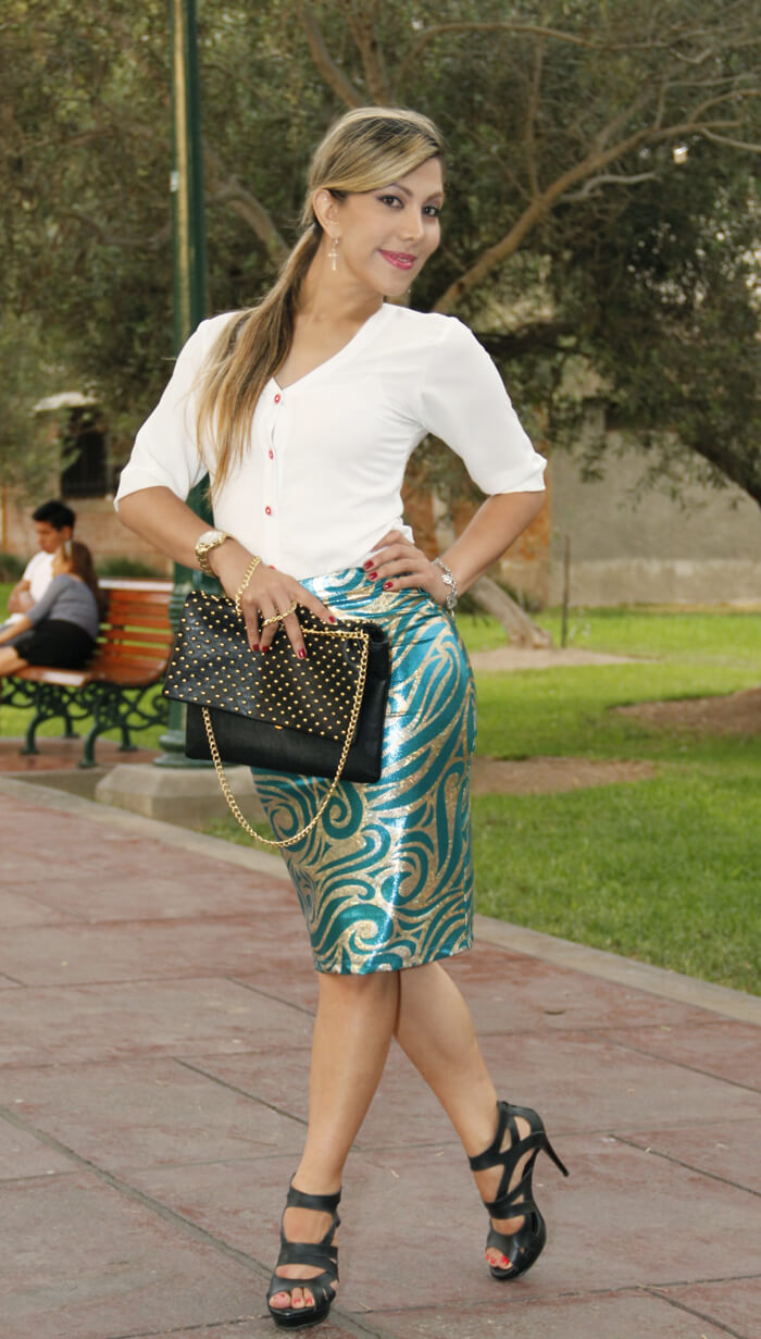 como combinar una falda metalizada www.bellezatotal.tv  Look de hoy : Falda metalizada belleza total4