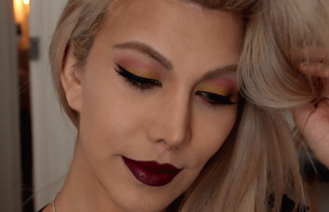 maquillaje labios color vino